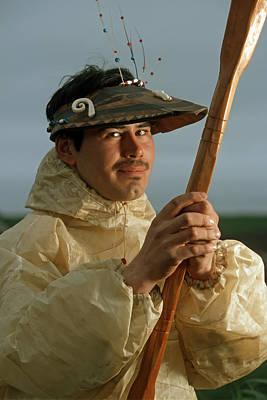 Aleut Photograph - Native Alaskan And Raincoat by Clark James Mishler