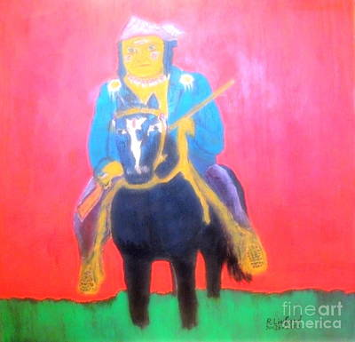 Painting - Native American Apache Geronimo 1 by Richard W Linford