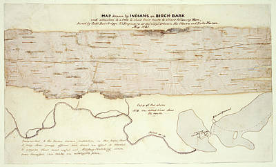 Canoe Photograph - Native American Birch-bark Map by British Library