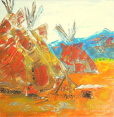 Painting - Native American Camp 1 by Richard W Linford