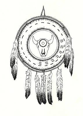 Native Drawing - Native American Ceremonial Shield Number 2 Black And White by Michael Vigliotti