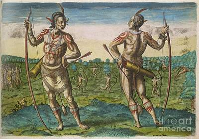 Hunters And Gatherers Photograph - Native American Chiefs, 16th Century by British Library