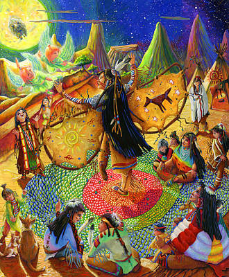 Native American Dancer Angel Art Print by Jacquelin Vanderwood