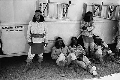 Native American Extras Dressed As Apache Warriors The High Chaparral Set Old Tucson Arizona 1969 Art Print by David Lee Guss