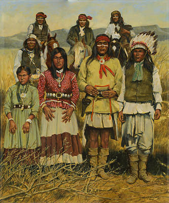 Apache Painting - Apache Family by Don  Langeneckert