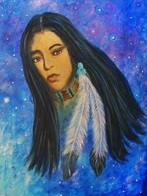 Pleiades Painting - Native American Female by The Art With A Heart By Charlotte Phillips