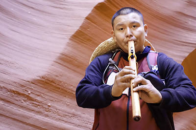 Photograph - Native American Flute Player Antelope Canyon Page Arizona by Jodi Jacobson