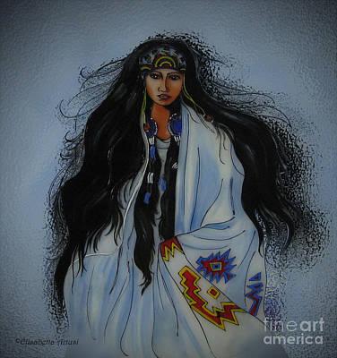 Elisabetta Artusi Painting - Native American Girl by Betta Artusi