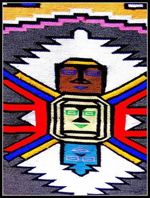 Native American Grey White Quilt Detail Original