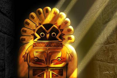 Digital Art - Native American Hawk Spirit Gold Idol by John Wills