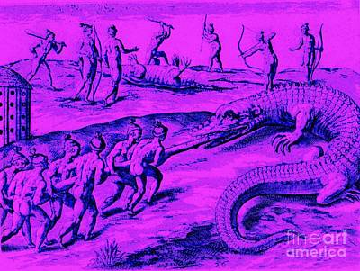 Art Print featuring the drawing Native American Indian Alligator Hunt by Peter Gumaer Ogden