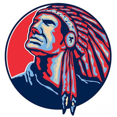 Landmarks Royalty Free Images - Native American Indian Chief Retro Royalty-Free Image by Aloysius Patrimonio