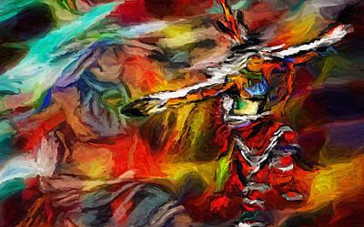 Digital Art - Native American Indian Dance by Ray Van Gundy