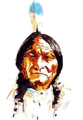 Blue Painting - Native American Indian by Steven Ponsford
