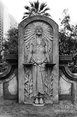 Photograph - Native American Indian Stone Street Statue San Antonio Texas Black And White by Shawn O'Brien