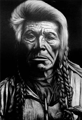 Pencil Native American Drawing - Native American by Jerry Winick