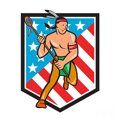 Native American Lacrosse Player Stars Stripes Shield Art Print