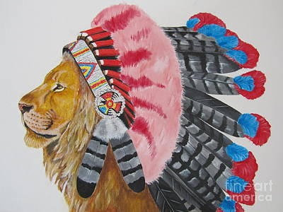 Native American Lion Art Print by Jeepee Aero