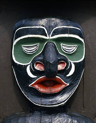 1a2923-native American Mask Carving  Art Print by Ed  Cooper Photography