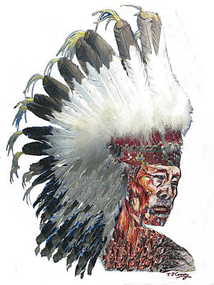 Drawing - Native American Portrait In Headdress by Tom Conway