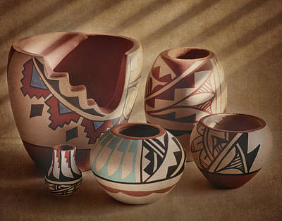 Clay Pottery Photograph - Native American Pottery by David and Carol Kelly