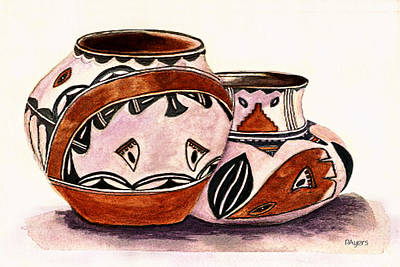 Art Print featuring the painting Native American Pottery by Paula Ayers