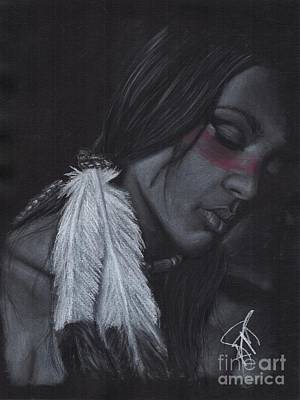 Drawing - Native American by Rosalinda Markle