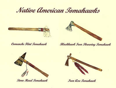 Comanche Painting - Native American Tomahawks by Michael Vigliotti