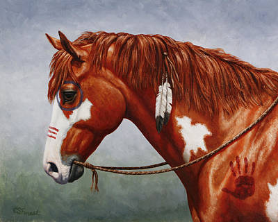 Chestnut Horse Painting - Native American War Horse by Crista Forest