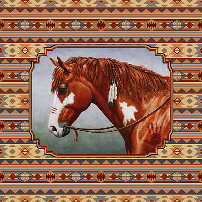 Native American Horse Painting - Native American War Horse Southwestern Pillow by Crista Forest