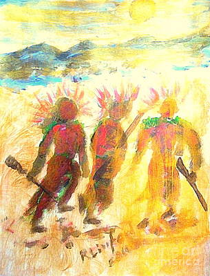 Painting - Native American War Party 10 by Richard W Linford