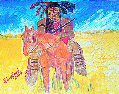 Painting - Native American Warrior 1 Micah 5 Verse 10 by Richard W Linford