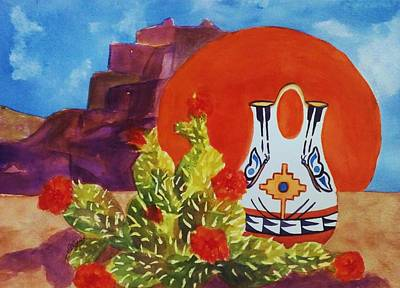 Indian Cultural Painting - Native American Wedding Vase And Cactus by Ellen Levinson