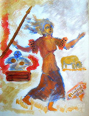 Painting - Native American White Buffalo Dance 1 by Richard W Linford