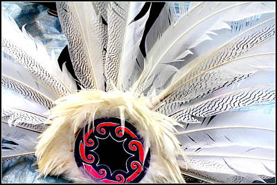 Native American White Feathers Headdress Art Print