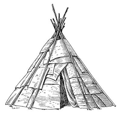 Native Drawing - Native American Wigwam by Granger