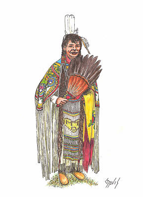 Drawing - Native American Woman by Lew Davis