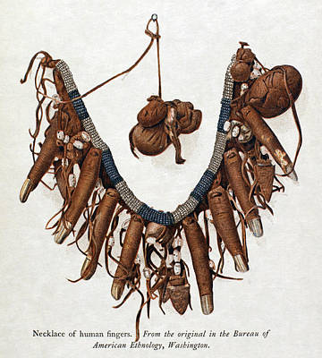 Indian Tribal Art Painting - Native Americans Finger Necklace by Granger