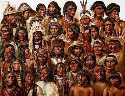 Painting - Native Americans - Montage by Reproduction