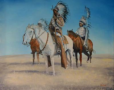 Painting - Native Americans On Horseback by Stefon Marc Brown