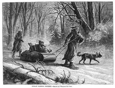American Indian Children Painting - Native Americans Sled, 1875 by Granger