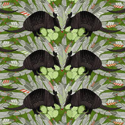 Armadillo Painting - Native Armadillos Green by Sharon Turner