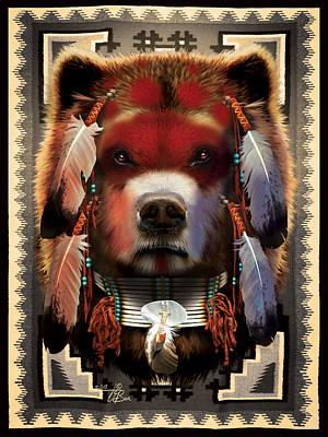 Painted Warrior Mixed Media - Native Bear Warrior by  Orlando Baca