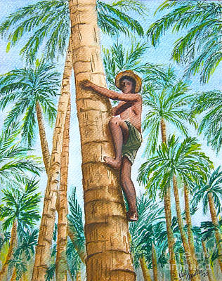 Native Climbing Palm Tree Art Print by Val Miller