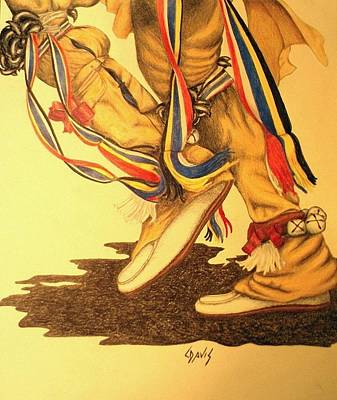 Drawing - Native Dancer's Feet 1 by Lew Davis