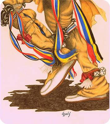 Drawing - Native Dancer's Feet 1a by Lew Davis