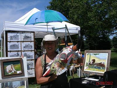 Painted Buffalo Skull Painting - Native Decorated Buffalo Skull by Cindy Liebl