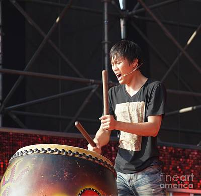 Native Drummer Performs In Taiwan Art Print by Yali Shi