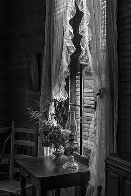 Native Flowers In Vase And Ruffled Curtains Art Print by Lynn Palmer