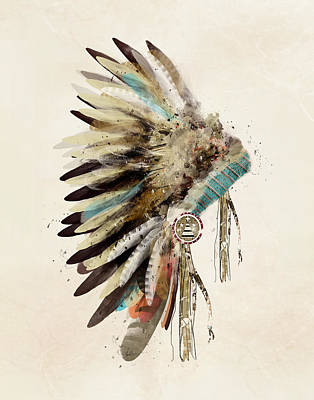 Modern Poster Painting - Native Headdress by Bleu Bri